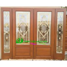 ประตูกระจกนิรภัยไม้สัก รหัส A04