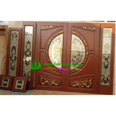 ประตูกระจกนิรภัยไม้สัก รหัส A07