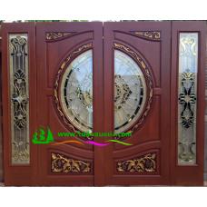 ประตูกระจกนิรภัยไม้สัก รหัส A08