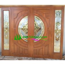 ประตูกระจกนิรภัยไม้สัก รหัส A09