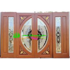 ประตูกระจกนิรภัยไม้สัก รหัส A10