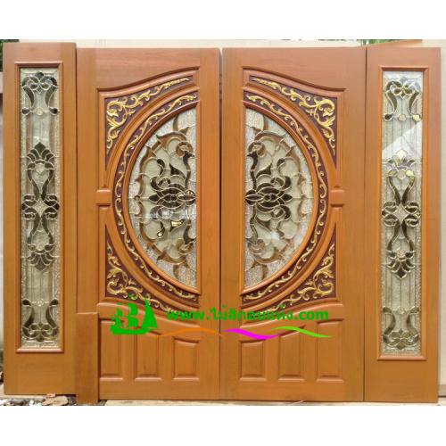 ประตูกระจกนิรภัยไม้สัก รหัส A21