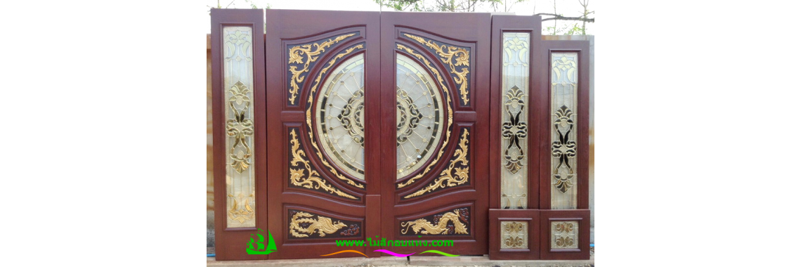 ประตูกระจกนิรภัยไม้สัก A29