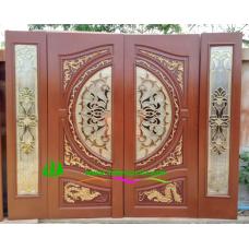 ประตูกระจกนิรภัยไม้สัก รหัส A29