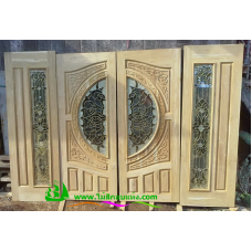 ประตูกระจกนิรภัยไม้สัก รหัส A30