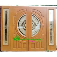 ประตูกระจกนิรภัยไม้สัก รหัส A31