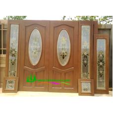ประตูกระจกนิรภัยไม้สัก รหัส A32