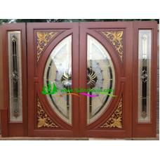 ประตูกระจกนิรภัยไม้สัก รหัส A39