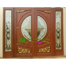 ประตูกระจกนิรภัยไม้สัก รหัส A40