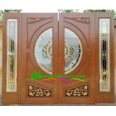 ประตูกระจกนิรภัยไม้สัก รหัส A42