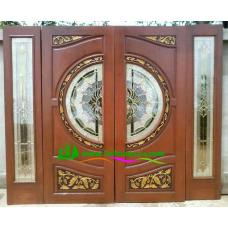 ประตูกระจกนิรภัยไม้สัก รหัส A46