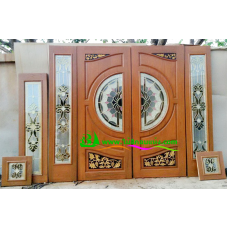 ประตูกระจกนิรภัยไม้สัก รหัส A47