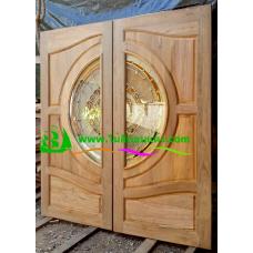 ประตูกระจกนิรภัยไม้สัก รหัส A50