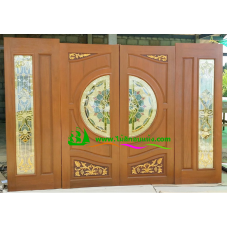 ประตูกระจกนิรภัยไม้สัก รหัส A51