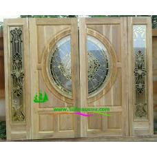 ประตูกระจกนิรภัยไม้สัก รหัส A59