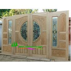 ประตูกระจกนิรภัยไม้สัก รหัส A61