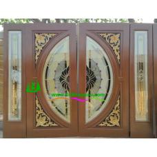 ประตูกระจกนิรภัยไม้สัก รหัส A63