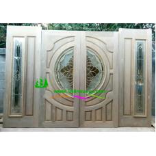 ประตูกระจกนิรภัยไม้สัก รหัส A68