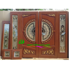 ประตูกระจกนิรภัยไม้สัก รหัส A69