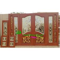 ประตูกระจกนิรภัยไม้สัก รหัส A71