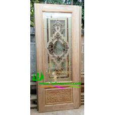 ประตูกระจกนิรภัยไม้สัก รหัส A77