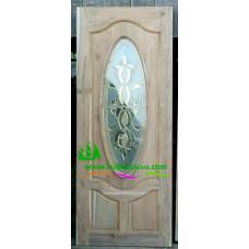 ประตูกระจกนิรภัยไม้สัก รหัส A78