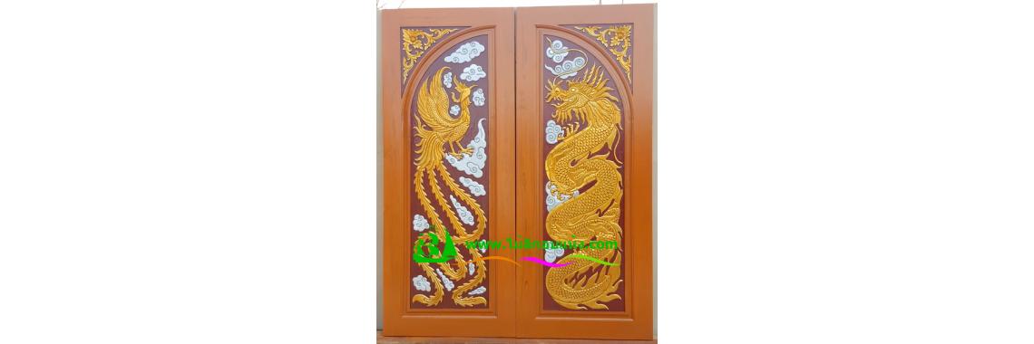 ประตูบานคู่ไม้สัก DD03