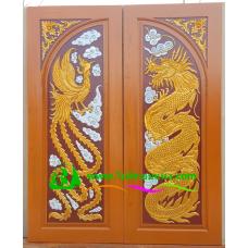 ประตูไม้สักบานคู่ รหัส DD03