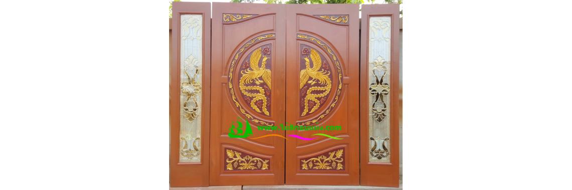 ประตูบานคู่ไม้สัก DD04