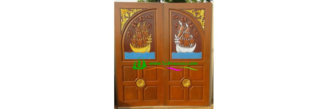 ประตูบานคู่ไม้สัก DD05