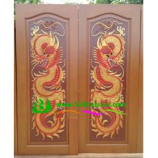 ประตูไม้สักบานคู่ รหัส DD07