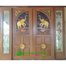 ประตูไม้สักบานคู่ รหัส DD17