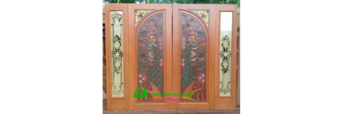 ประตูบานคู่ไม้สัก DD22