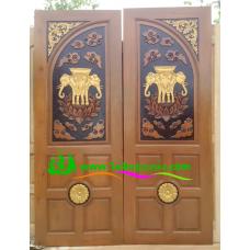 ประตูไม้สักบานคู่ รหัส DD34