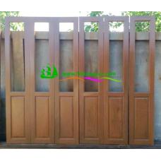 ประตูบานเฟี้ยมไม้สัก รหัส F02