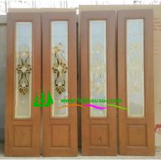 ประตูบานเฟี้ยมไม้สัก รหัส F03