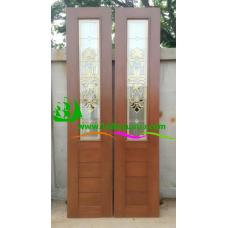 ประตูบานเฟี้ยมไม้สัก รหัส F04