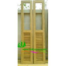 ประตูบานเฟี้ยมไม้สัก รหัส F05