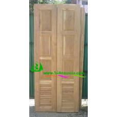 ประตูบานเฟี้ยมไม้สัก รหัส F16