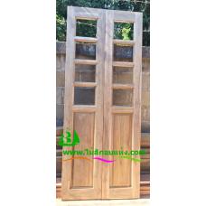 ประตูบานเฟี้ยมไม้สัก รหัส F17
